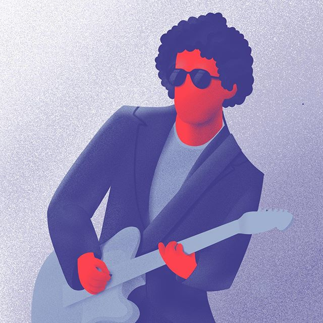 Andrés Calamaro, Illustration by Axel Valdez / One Second Time Machine